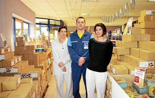 Audray Huon, Julien Le Luron, secrétaire du CE et Sandrine Nicolas de la CGT de...