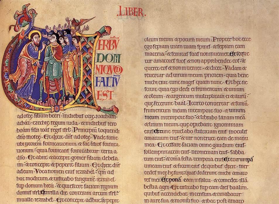 WINCHESTER, la Cathédrale : Enluminure de la Bible de WINCHESTER