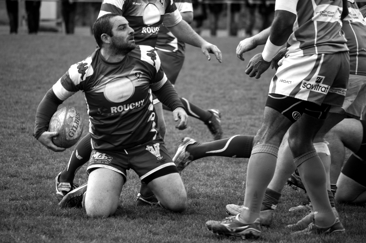 Rugby, stade Giraud, rencontre Roanne XV - Vénissieux, décembre 2015