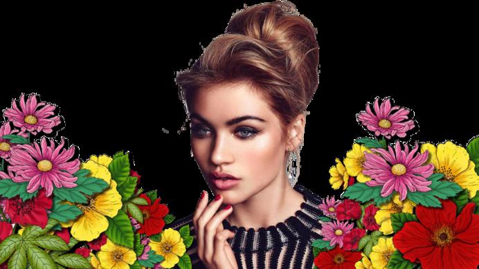 tube femme fleur