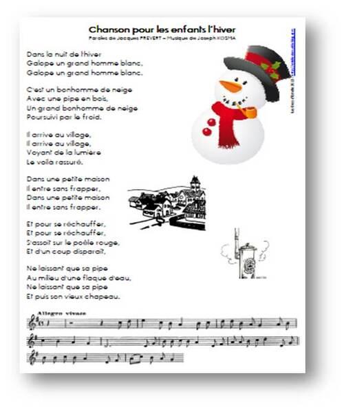 Chanson pour les enfants l'hiver - Jacques Prévert