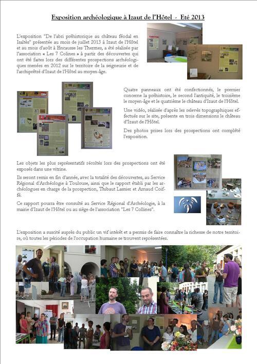 """Eté 2013 : Exposition archéologique """"De l'abri préhistorique au château féodal en Isaltès"""""""