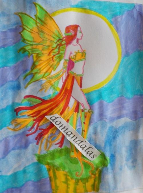 DOMANDALAS  coloriage d'une fée perchée Molly Harrison