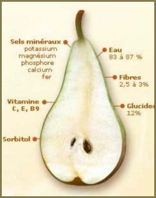 Vertus médicinalles des légumes et des fruits : POIRIER