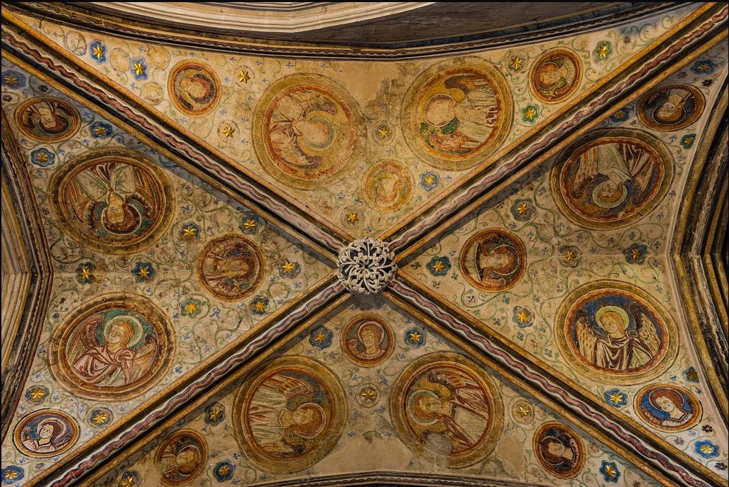 WINCHESTER, la Cathédrale : Le plafond restauré, de la Chapelle des Anges Gardiens .