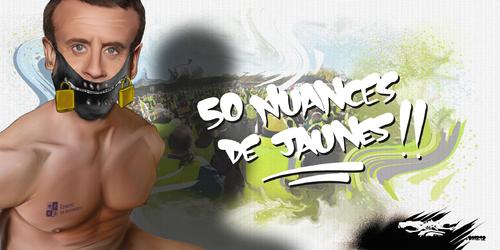 dessin de JERC du mardi 11 décembre 2018 caricature Emmanuel Macron con sultation, con certation, con vaincu, con clusion, con stat, con céder www.facebook.com/jercdessin @dessingraffjerc