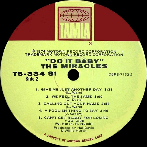 "The Miracles : Album "" Do It Baby "" Tamla Records T6-334S1 [ US ]"