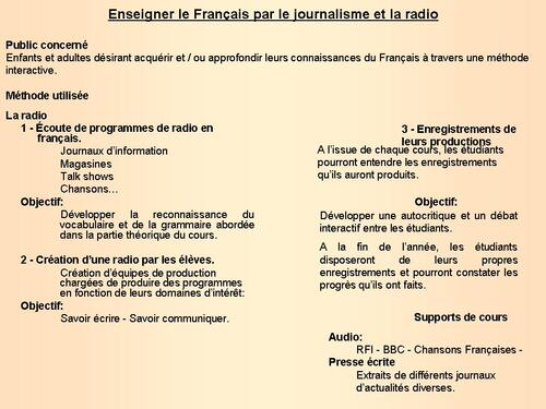 Teaching French using journalism and radio