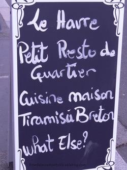 Menu d'un restaurant - tiramisu breton