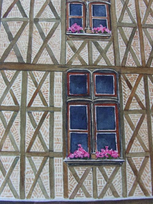 La Place Plumereau du Vieux Tours des années 1970 réalisée en aquarelle par Michel LE BRIGANT Artiste Peintre en Touraine
