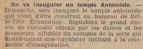 Temple Ecaussinnes (Le Matin 18 avril 1914)