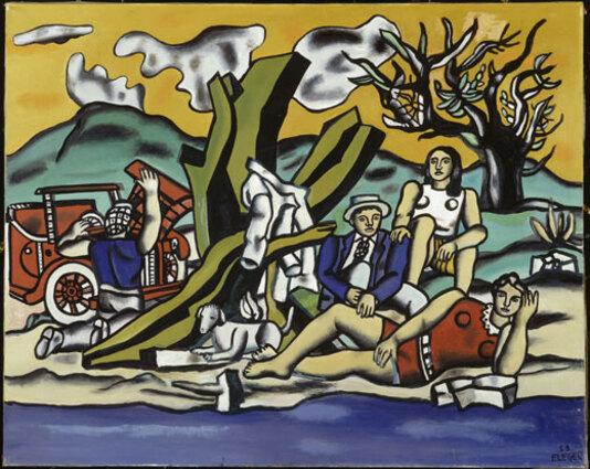 Fernand Léger : La Partie de campagne (deuxième état), 1953. Huile sur toile, 130,5 cm x 162. Centre Pompidou, MNAM-CCI / Service de la documentation photographique du MNAM/ Dist. RMN-GP. Adagp, Paris 2017