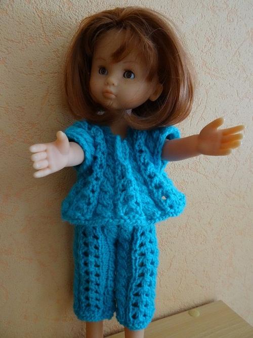 Fiche gratuite vêtements de poupée N° 200: ensemble turquoise Chéries de Corolle