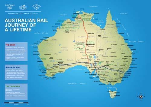 Cartes des grands trains d'Australie