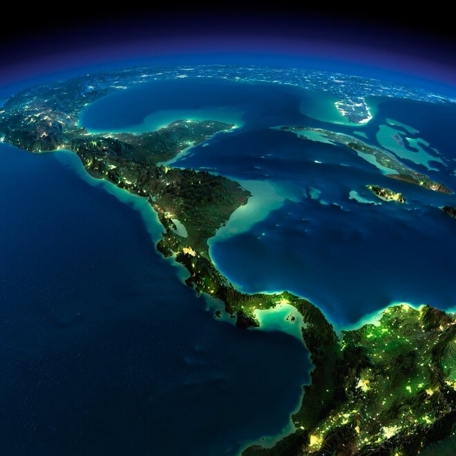 earth night photos central america