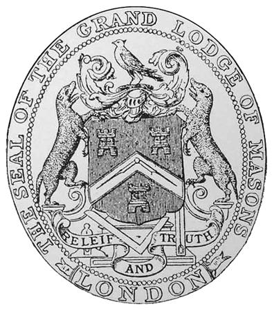 Sceau utilisé par la « Première Grande Loge d'Angleterre » sur leurs premiers certificats maçonniques, J. Ramsden Riley, « Quatuor Coronatorum Antigrapha », Vol VIII, 1891.
