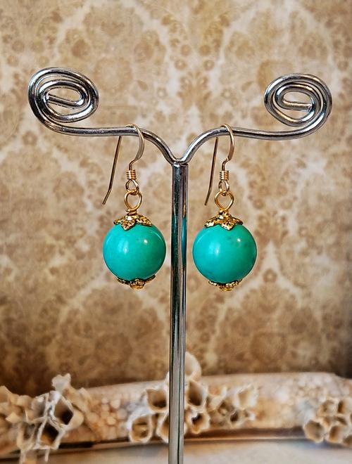 Boucles d'oreilles Pierre de turquoise boules 12mm, métal doré et plaqué or 14 kt Gold filled