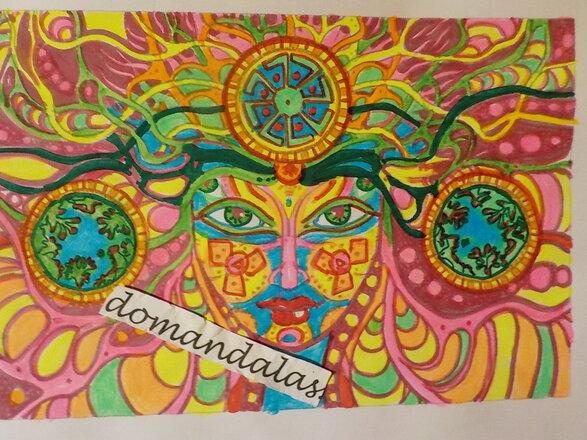 DOMANDALAS  coloriage femme psychédelique