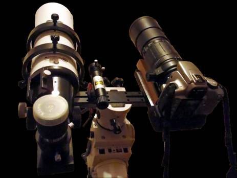 Laser + lunette Orion 80/400 + EOS 350D / Sigma Apo 300mm f/4