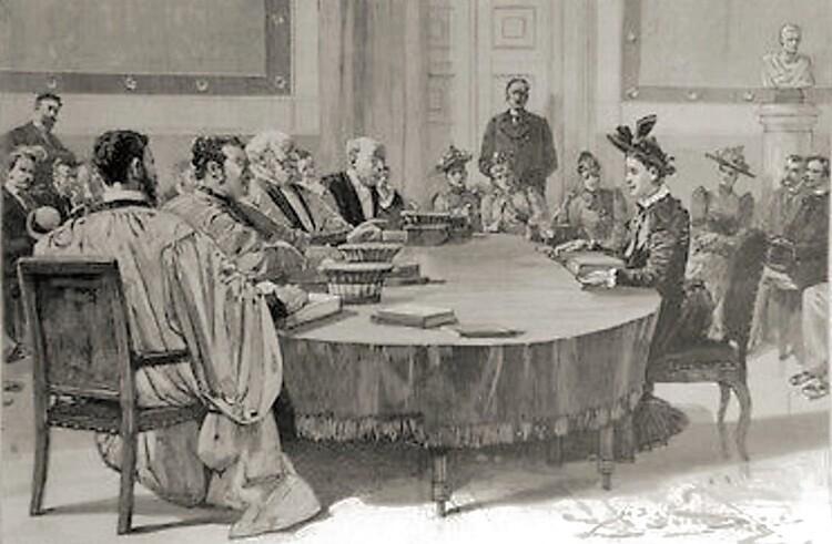 Sarmisa Bilcesko, soutenance de thèse, 12 juin 1890, Faculté de Droit de Paris (L'Illustration, n°2469)