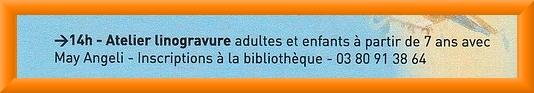 """L'atelier de linogravure de May Angeli, proposé, lors de la """"Journée de l'Ecrit"""", par la Biblothèque Municipale et le Musée du Pays Châtillonnais-Trésor de Vix..."""