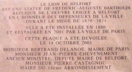 Plaque commémorative du Lion de Belfort à Paris