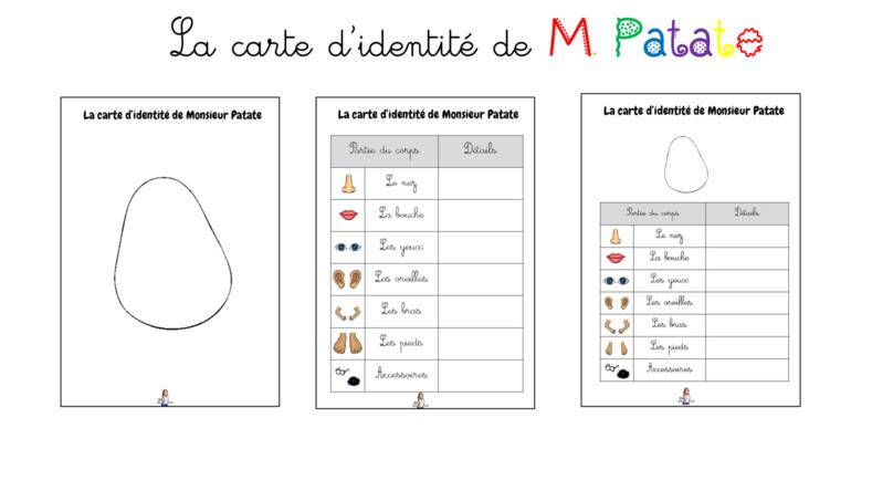 La carte d'identité de M. Patate