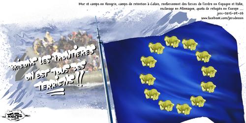 dessin de JERC du mardi 8 septembre 2015 caricature drapeau de l'Europe : Ce n'est pas la photo de Aylan l'enfant retrouvé mort sur une plage turque qui est dure, c'est la réalité qui est cruelle. www