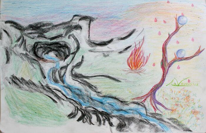 Une source s'écoule de la bouche de la montagne. Un feu brûle sur don bord. Un arbre porte des perles de rosée. C'est le balbutiement de la lumière.