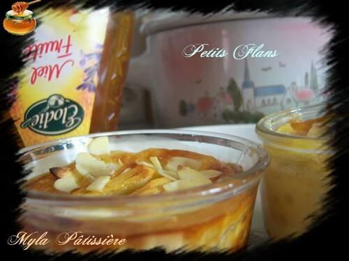 Petits flans pommes, miel, amandes