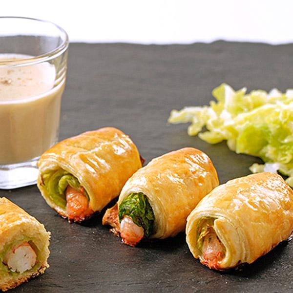 recettte festive d'un feuilleté  de langoustines