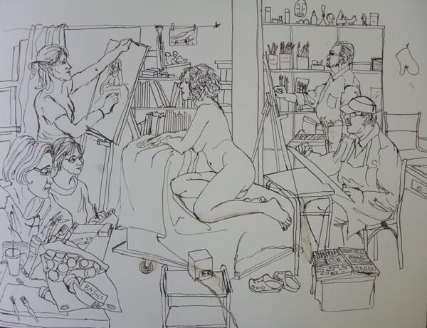 Scène d'atelier (61) Le dessin