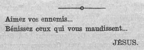 Aimez vos ennemis (Le Fraterniste, 1er mars 1927)