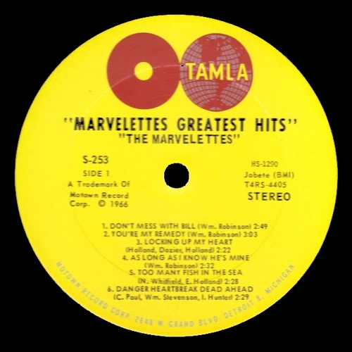"The Marvelettes : Album "" Marvelettes Greatest Hits "" Tamla Records TM/TS 253 [ US ]"