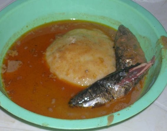 Fufu in groundnut soup with fish