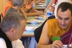 Frère Jean-Pierre de Tamié avec Mila Khyentsé Rinpoché au colloque chrétiens-bouddhistes de 2015, CTM avec Drukpa Grenoble.