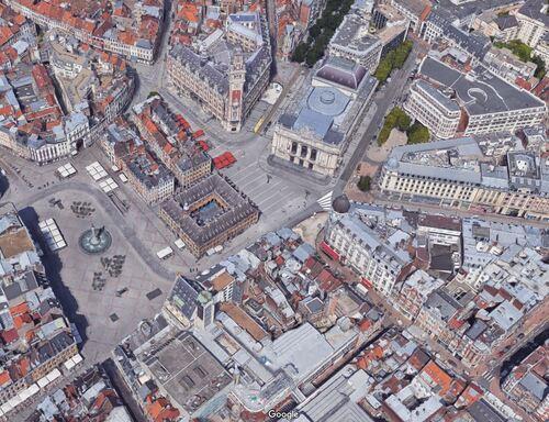 Lille - Grand'Place et Place du Théâtre (Google 3D)