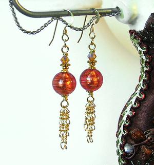 Boucles Verre de Murano authentique, Roses Rose corail Feuille d'Or / Plaqué Or Gold filled