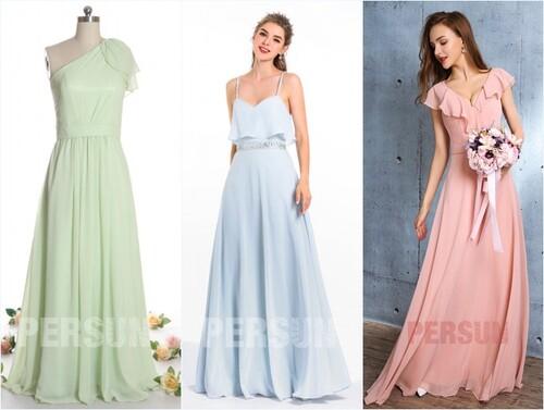 robes longues de couleurs pastel pour mariage invité
