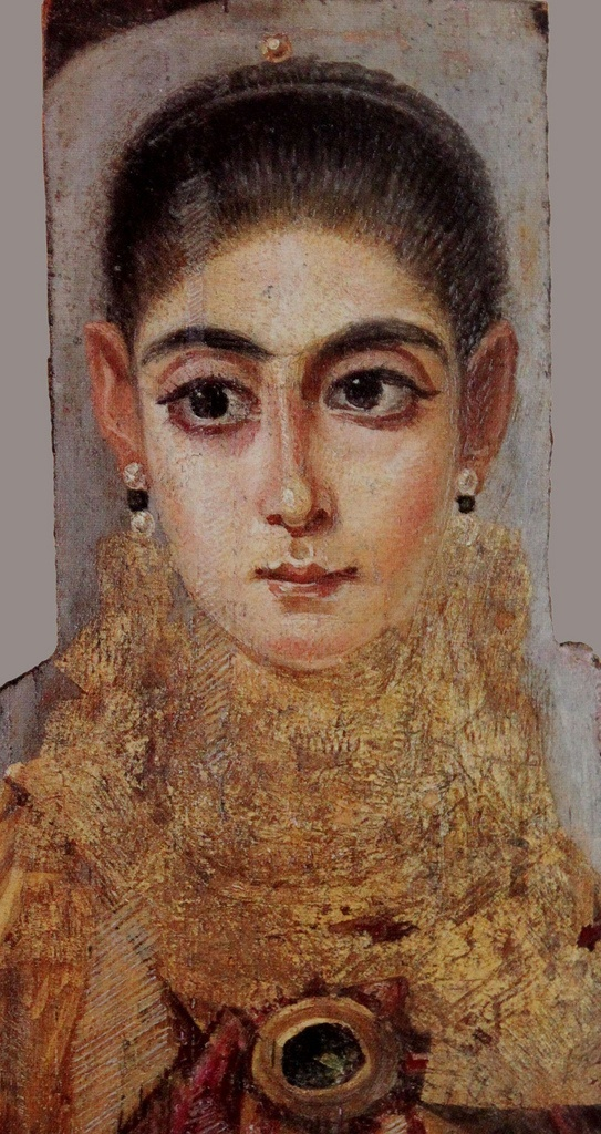 Fayum Mummy Portraits usually depict a single person, showing the head, or head and upper chest, viewed frontally. The background is always monochrome, sometimes with decorative elements. In terms of artistic tradition, the images clearly derive more from Graeco-Roman traditions than Egyptian ones. The population of the Fayum area was greatly enhanced by a wave of Greek immigrants during the Ptolemaic period.