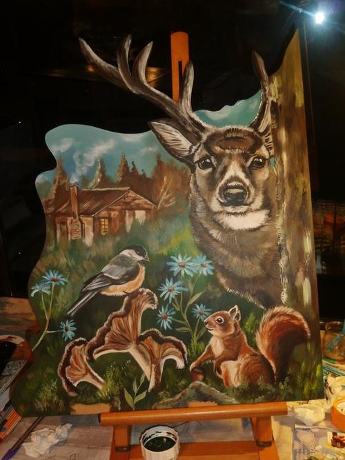 Triptyque : Les animaux de la forêt.