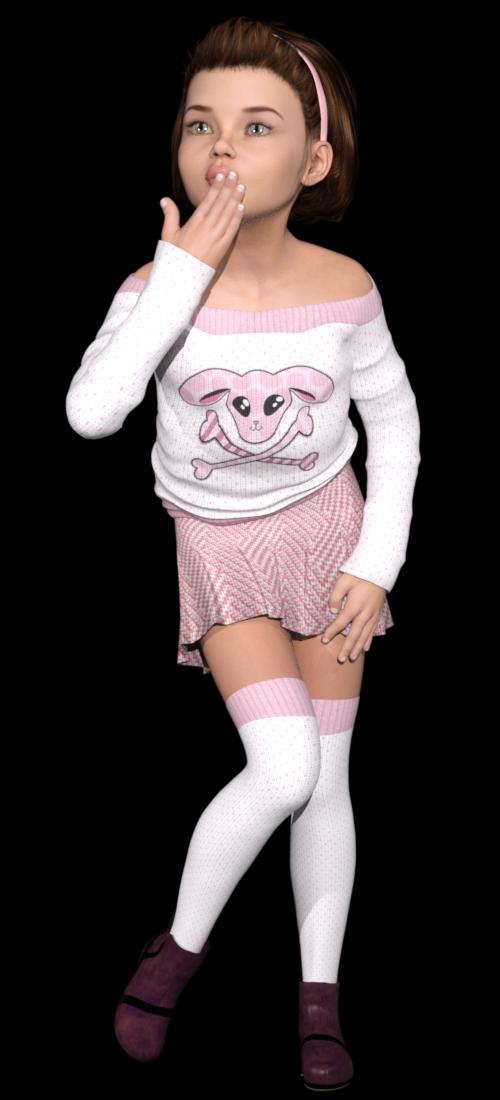 Tubes de fillette en jupe (image-render)