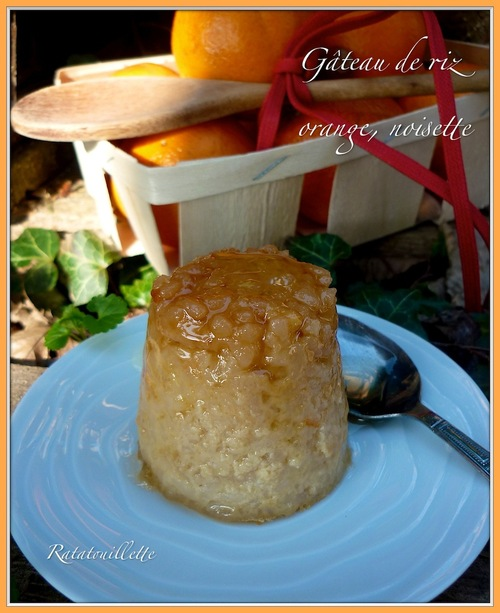 Gâteau de riz orange, noisette