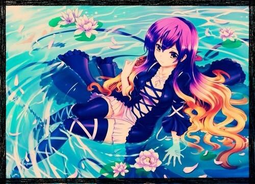 fille manga eau cheveux violet orange