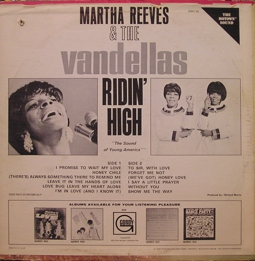 "Martha Reeves & The Vandellas : Album "" Ridin' High "" Gordy Records GLPS 926 [ US ]"