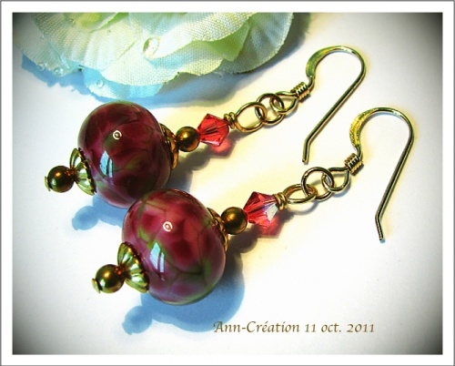 Boucles d'Oreilles Earrings Artistic Glass beads Rose-Vert, Swarovski / Gold Filled