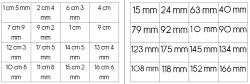 Les conversions cm / mm