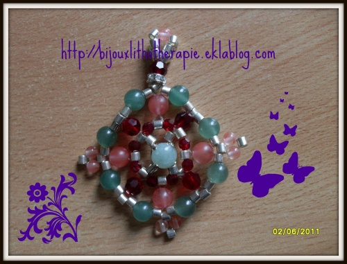 pendentif pierre gemme+swakovski+rocaille miyuki