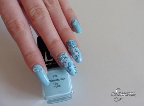 Nail Art 3D Kawaii Bleu