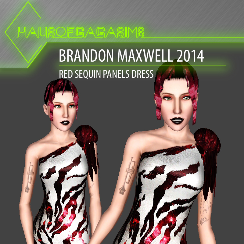 BRANDON MAXWELL 2014 RED SEQUIN PANELS DRESS